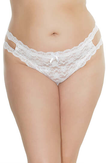 Plus Size Crotchless Multi Strap Lace Thong