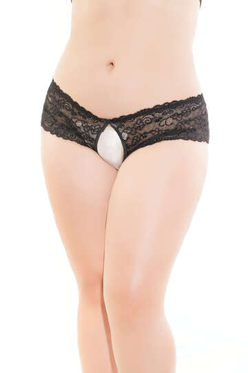 Plus Size Believe Me Crotchless Panty