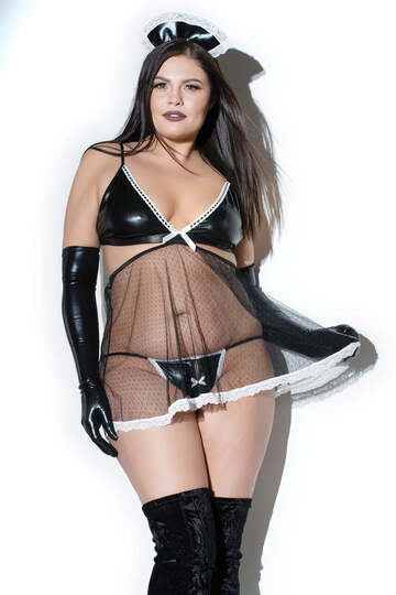 Wet Look Plus Size French Maid Babydoll Set