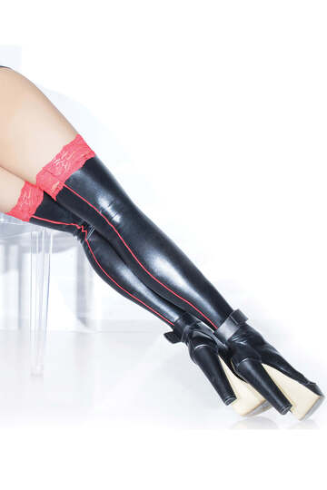 Red Lace Top Wet Look Stockings