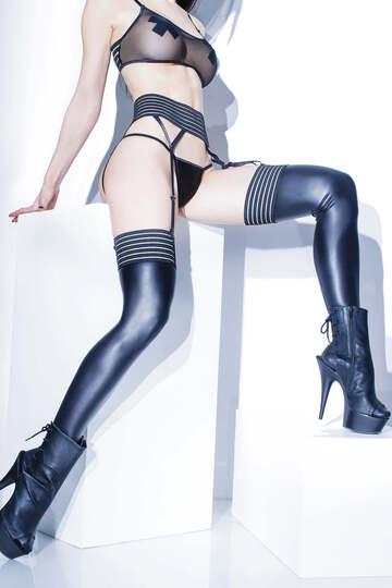 Wet Look Stripe Top Stockings