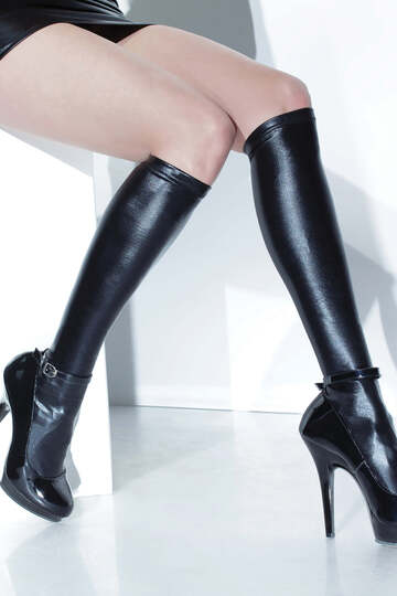 Wet Look Knee High Stockings
