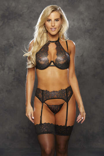 Metallic Lace Bra & Panty Set