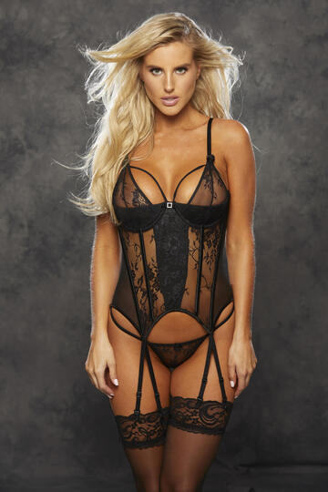 Lace & Stretch Mesh Strappy Bustier