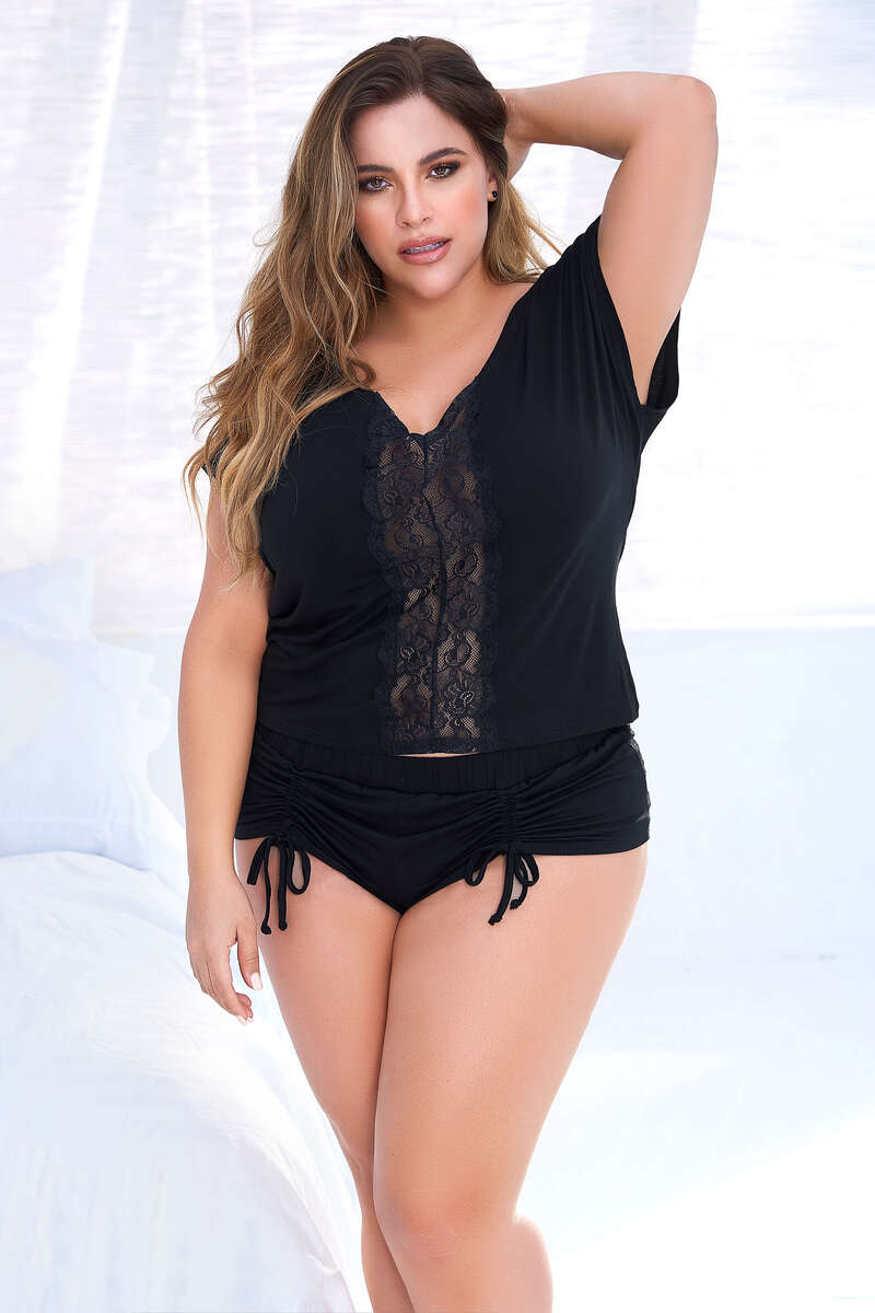 Plus Size Fine Lace & Cotton Sleep Shirt Set