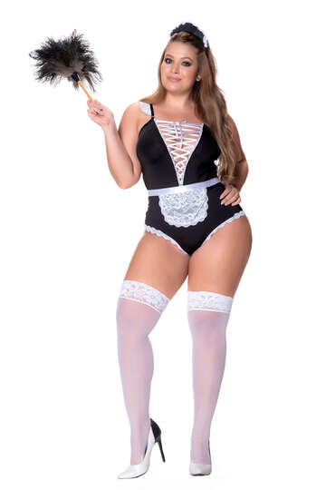Plus Size Frilly French Maid Lingerie Costume