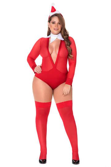 Plus Size Mischievous Elf Lingerie Costume