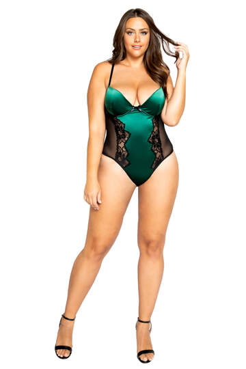 Plus Size Lace & Satin Snap Crotch Teddy