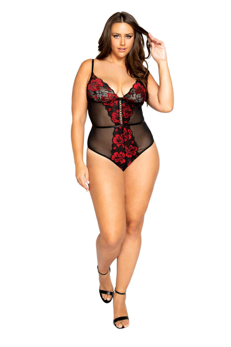 Plus Size Flirty Floral Lace & Mesh Teddy