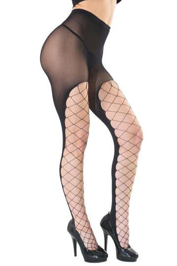 Diamond Net Front Pantyhose