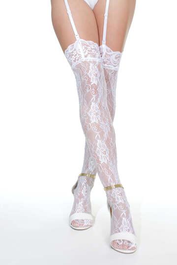 Lace Rhinestone Thigh High Stockings