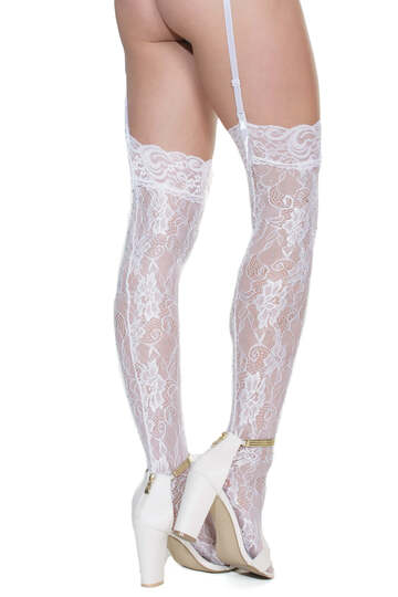 Plus Size Lace Rhinestone Thigh High Stockings