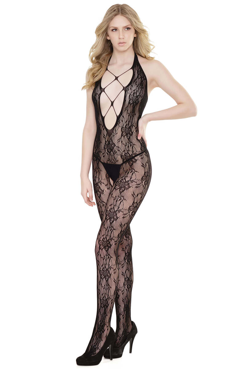 Halter Lace Crotchless Bodystocking
