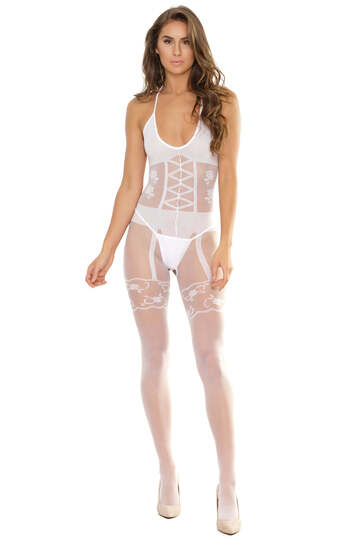 Opaque Print Crotchless Bodystocking