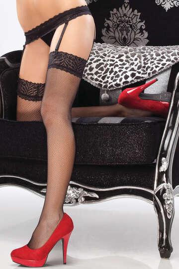 Slick Lace Garter & Fishnet Stockings