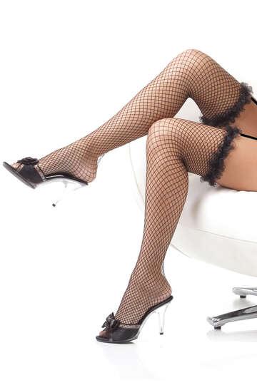 Organza Ruffle Thigh High Stockings