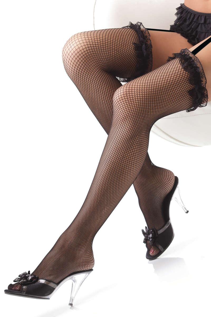 Ruffle Lace Fishnet Thigh High Stockings