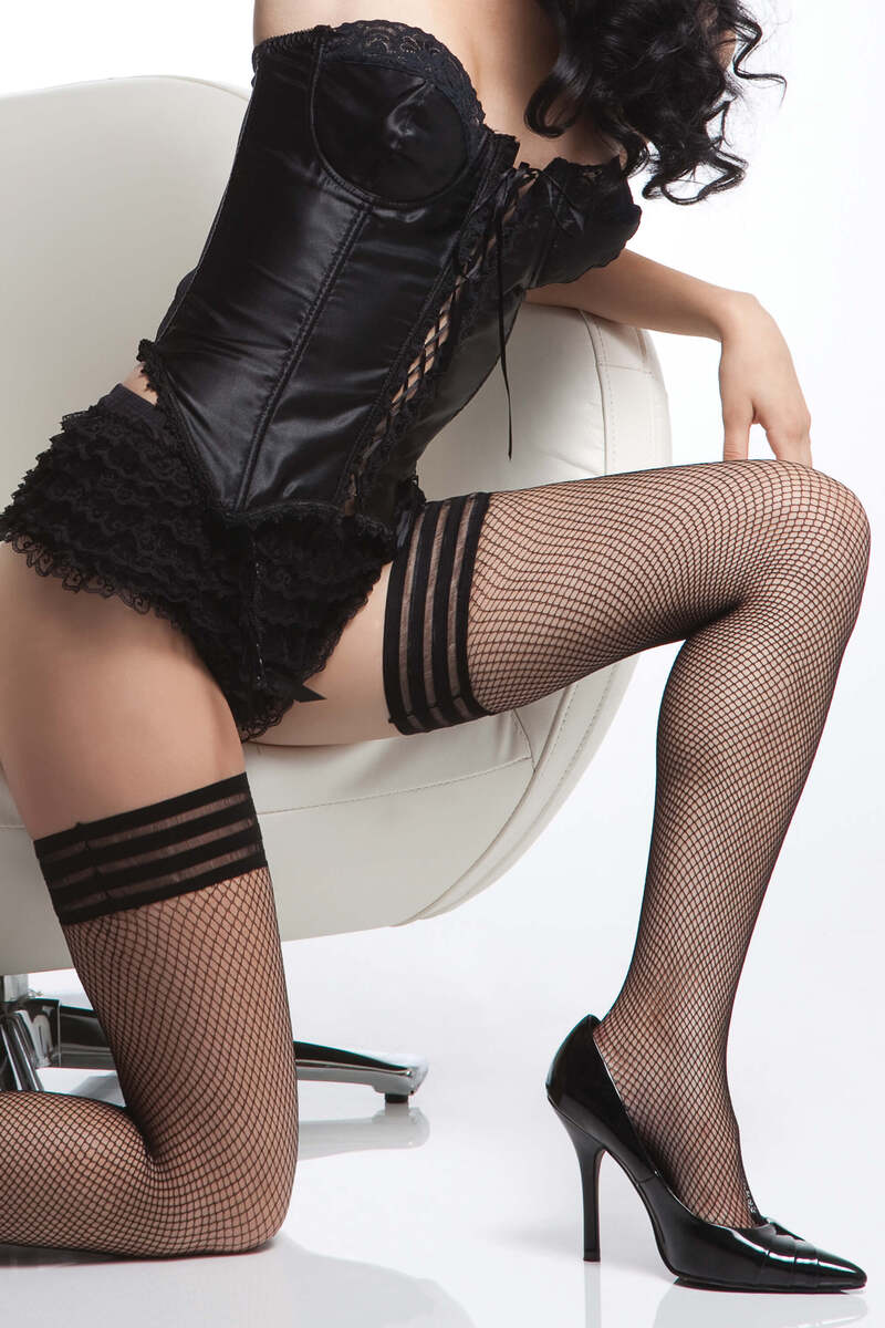 Tri-Stripe Fishnet Stockings