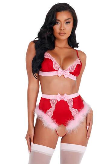 Holiday Love Lace & Satin Marabou Bra Set